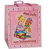 Unbekannt Geschenkbeutel / Geschenktüte - Schulanfang - Schultüte & Zuckertüte - mit Anhänger - Geschenktasche Geschenktüte Tüte Beutel Tasche - rosa Mädchen Schulbegin