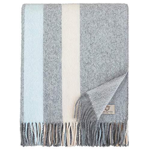 Linen & Cotton Flauschige Warme Decke Wolldecke Merino Wohndecke Kuscheldecke Candice - 100% Weicher Merinowolle, Blau/Grau/Türkis/Creme (140 x 200cm), Sofadecke Tagesdecke Überwurf Blanket Plaid