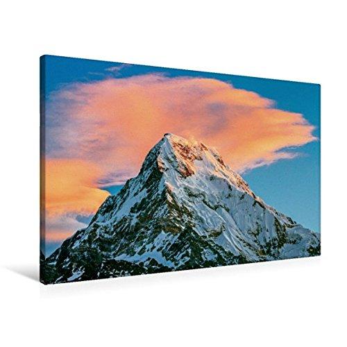 Preisvergleich Produktbild Premium Textil-Leinwand 90 cm x 60 cm quer, Sonnenaufgang am majestätischen Annapurna, mit 8091 m ist er der zehnthöchste Berg der Erde | Wandbild, ... Annapurna, Himalaya, Nepal (CALVENDO Orte)
