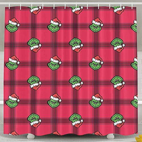 SARA NELL Duschvorhang, süßes Cartoon-Grinch-Motiv, wasserdichtes Polyester-Gewebe, extra lang, rosa Badevorhänge, Badezimmer-Dekoration, 182,9 x 182,9 cm, mit 12 Haken