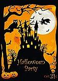 12 Halloween-Einladungskarten / 12 gruselige Einladungen zur Halloween-Party mit Spuk-Schloss und Hexe von EDITION COLIBRI