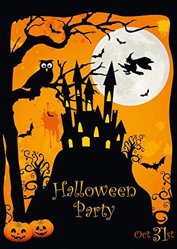 12 Halloween-Einladungskarten / 12 gruselige Einladungen zur Halloween-Party mit Spuk-Schloss und Hexe von EDITION COLIBRI (Party-einladungen Für Halloween)