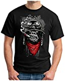 OM3 - Gorilla-of-Duty - T-Shirt Smoking Monkey Biker Ape MC Rocker Motor Army Navy War Swag, L, Schwarz