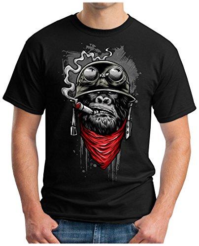 OM3 Gorilla-of-Duty - T-Shirt Smoking Monkey Biker Ape MC Rocker Motor Army Navy War Swag, S, Schwarz (Duty-motor)