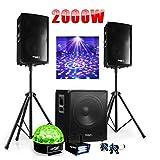 Cube 1512 DJ-Soundset 2000W mit Subwoofer + Lautsprecher + Füße + Kabel+ Stroboskop + Sixmagic Effektlicht
