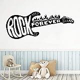 YuanMinglu Drôle Guitare Rock sur Stickers Autocollants décoratifs Chambre d'enfant décoration de la Maison Maternelle Art Vinyle Autocollants 17X43CM