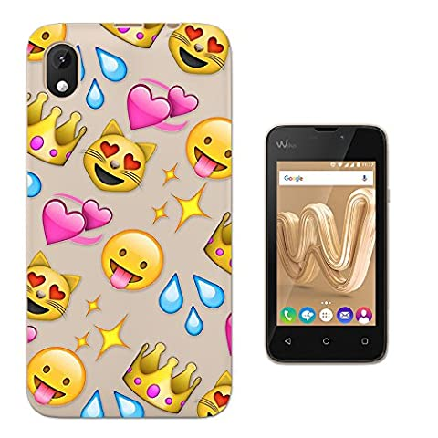 c00396 - Cool Fun Trendy Cute Kawaii Colourful Emoji Apps EmotFacess Hearts Smiley Face Funny (9) Design WIKO Sunny MAX (2017) Fashion Trend Protecteur Coque Gel Rubber Silicone protection Case