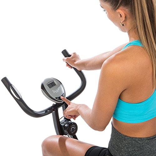 skandika Foldaway X-1000 Lite Fitnessbike Heimtrainer X-bike F-Bike Klappbar mit Handpuls-Sensoren, 8-stufiger Magnetwiderstand, LCD Display max. 110kg Grau/Schwarz - 5