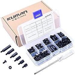 Kit de herramientas Kuman de 180 piezas, Nailon M3 Macho Hembra Espaciador Diversas Tuercas y Tornillos para Ensamblaje, Accesorios para PCB, FPV, Drones, RC, Arduino, Raspberry PI, Placa de circuito con destornillador cruzado K79