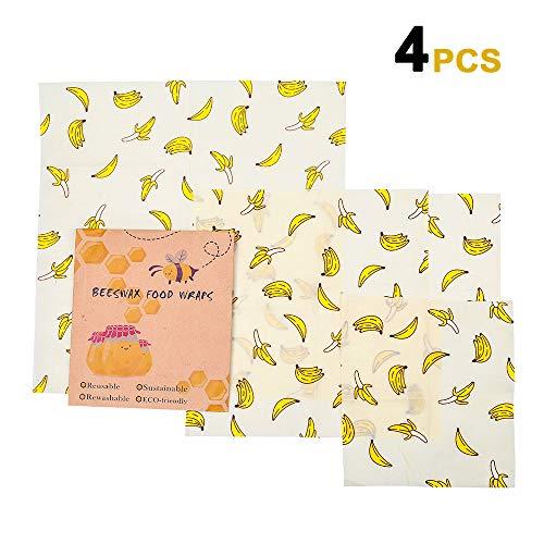 DIOMO Lebensmitteln Bienenwachstuch Set 4 Stück, für Lebensmittelkonservierung, wiederverwendbar, aus natürlichem Bienenwachs und Öko-Tex Baumwolle (Banane) - Abdeckung Natürliche
