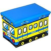Preisvergleich für OUNONA Sitzhocker faltbare Spielzeugkiste Aufbewahrungsbox Kinderzimmer Schlafzimmer Spielzeugbox Zug (Gelb und Blau)