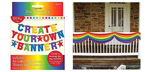 inbow Buchstabe Banner Kit und Beistle 12,7x 25,4cm Rainbow Stoff Party Zubehör gebündelt von Maven Geschenke ()