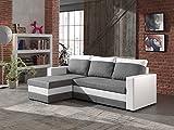 Bestmobilier PORTLAND - Canapé d angle réversible convertible - Blanc/Gris - 225x145x85cm Couleur - Blanc/Gris