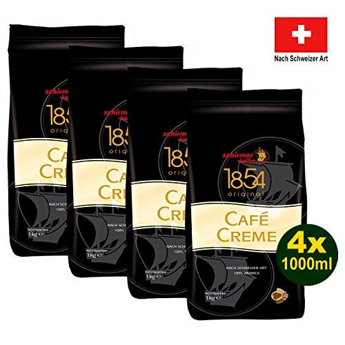Schirmer 1854 Original CAFÉ CREME, ganze Bohnen 4x 1000g (4000g) - Kaffee Crema nach Schweizer Art