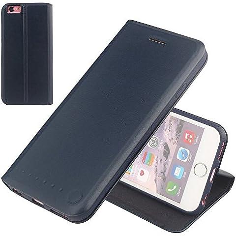 Nouske iPhone 6/6s Plus Funda protectora de tipo Cartera para teléfonos móviles/TPU protección frente a golpes/Estuche para tarjetas de crédito/Soporte/Conciso y Ultra delgado/Hebilla magnética,azul marino