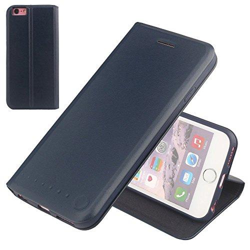 Nouske étui à rabat Folio en cuir pour Apple iPhone 6 Plus/6S Plus 5.5 pouces, Cover Coque TPU Porte cartes avec Support Protection intégrale,Bleu Mar...