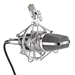 LESHP Kondensatormikrofon, professionell, für Studio, Radio, Aufnahmestudio Microphone avec Support Antichocs