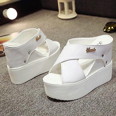 LQXZM Sandales femmes Printemps Été PU lianes occasionnel Blanc Noir 4in-4 3/4 White
