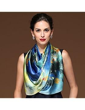 Mujer pintura azul de alta calidad 100% satén de seda bufanda larga