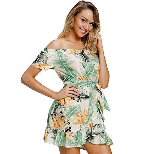 PW Printed sexy trägerlosen Kragen Rüschen Minikleid, 2, XL (Trägerlosen Bestickt Baumwolle Kleid)