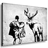 Bild auf Leinwand Banksy Street Art Graffiti Leinwand Bild von artfactory24 fertig auf Keilrahmen - Kunstdrucke, Leinwandbilder, Wandbilder, Poster, Gemälde, Pop Art Deko Kunst Bilder