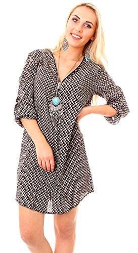 Easy Young Fashion Damen Kleid Minikleid Boho Tunika kurz mit Reissverschluß V-Ausschnitt Boho schwarz/beige