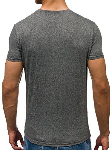 BOLF Herren T-Shirt Tee Kurzarm Rundhals Slim Fit Classic Party 3C3 Casual Grau(Dunkel)