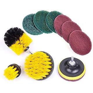 RAIN QUEEN Drill Brush 10Pcs Electric Cleaning Brush Power Scrubbing Brush Drill Fixing Fliesen Fiberglas Fußboden Teppich Mat Polster Punktreinigung Hauptreinigung Cleaning (Set 10, Gelb)