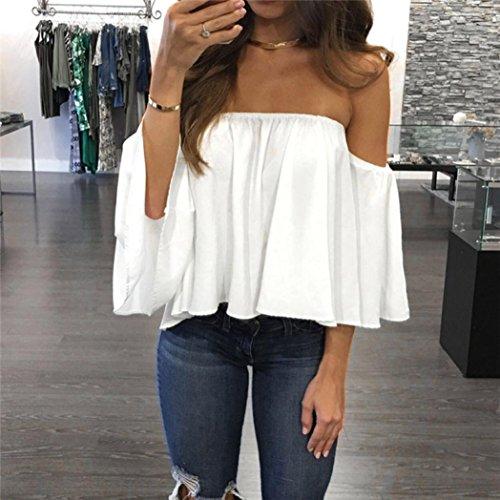 Femmes Sexy Tops, OverDose Top éPaules Nues En Mousseline Structuré Pullover Off Shoulder Blouse Blanc