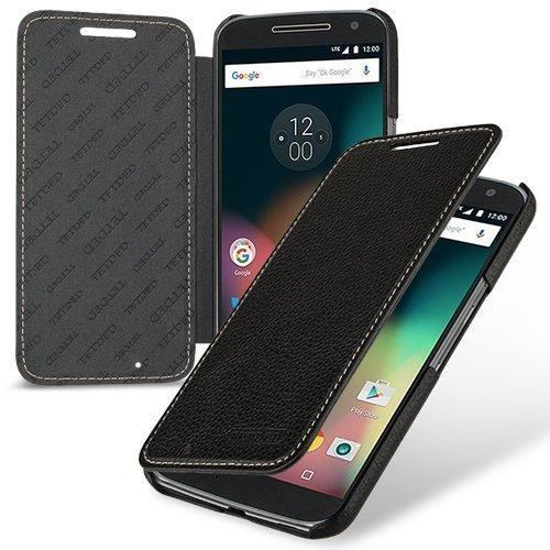 Schwarz Gestickte Brieftasche (TetDed® Handarbeit Echtes Cowhide Leder UltraSlim 'Wallet' Case, Hülle für Moto G4 (Schwarz))