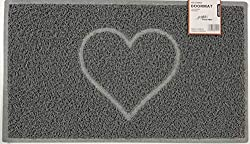 Nicoman HEART Embossed Shape Door Mat Dirt-Trapper Jet-Washable Doormat【Use Indoor or Sheltered Outdoor 】 (60x40cm/23.6x15.7inches, Small) GREY