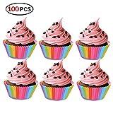 Hemore Papier Cup Backen, 100pcs Cupcake Cases Banderolen für Muffins, Muffins, Pastell für Geburtstage, Hochzeiten, Jubiläen und Anderen Quellen von Fiesta Kapseln für Kuchen