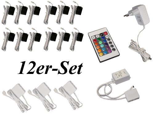 12er Set Glaskantenbeleuchtung RGB LED Farbwechsel Trango TG5022-12