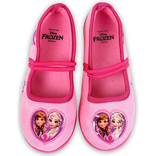 Disney Frozen - Hausschuhe Laufschuhe für Mädchen - Slippers Ballerinas in pink Anna und ELSA, Pink, 24 EU