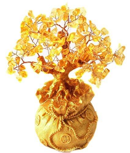 Itian albero in quarzo citrino giallo con base a forma di sacco portafortuna
