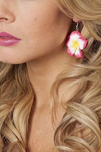 Jannes 33117 Ohrringe Hawaii-Blume Südsee Karibik Flower Power Hippie-Schmuck Einheitsgröße Pink (Hawaii-ohrringe)