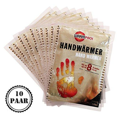 Warmpack Handwärmer | angenehme Wärmepads | kuschlig weiches Wärmekissen | 8 Stunden wohltuende Wärme von 57°C | 10er Pack (Finger Wärmer)