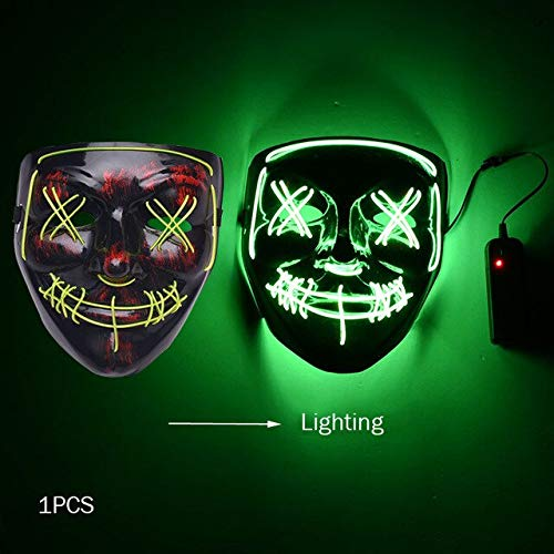 Dark Kids Kostüm Vampir - WSJDE Halloween Horror Maske Led Maske Glow In The Dark Kostüm Kids Spooky Carnival Mask Kostüm Party Dekoration Glowing Demon Evil   grün