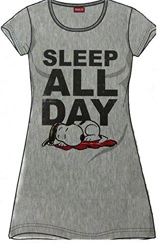 Nachthhemd Damen Disney Peanuts Snoopy Schlafhemd T-Shirt grau (S)