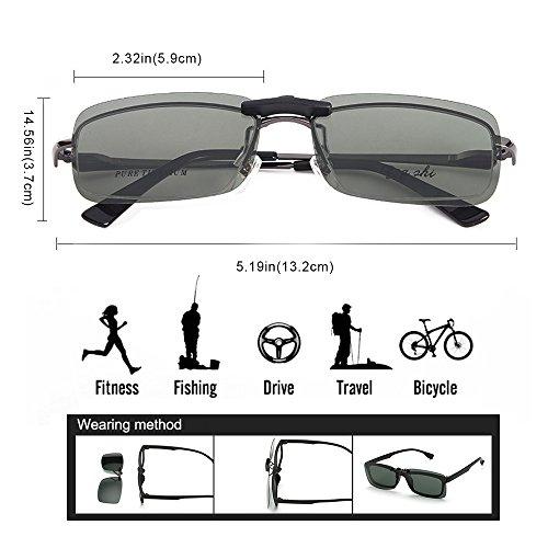 Clip polarisé unisexe sur des lunettes de soleil pour lunettes de prescription-Good Lunettes de soleil clip pour lunettes de myopie extérieure / conduite / pêche (Black) bmlXG
