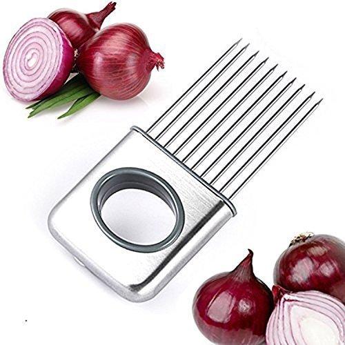 LifeJoy Zwiebel Halter Gemüse Kartoffel Cutter Slicer Gadget Edelstahl-Gabel-Slicing Geruch Entferner-Küche-Werkzeug-Hilfe-Gadget Chopper Cutting (Linkshänder Küchen-werkzeuge)