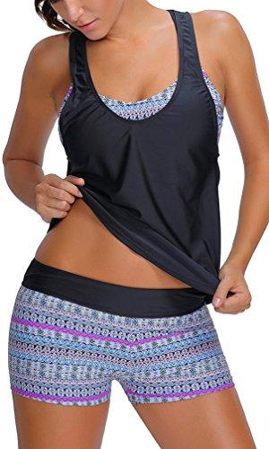 Bettydom Damen Tribal Print mit Buntem Muster Flower Blumen Yoga Fitness Tankini mit 3-Teilig Bikini Set (XL, 1 Weiss) (Tribal Print Badeanzug)