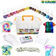 Vivuzono Tie Dye Kit 18 Colors 90 Rubber Bands 12 Protective Gloves Table Sheet Instruction Booklet In Colorfu