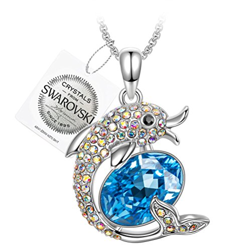 PAULINE & MORGEN Damen Kette Happy Dolphin Anhänger mit Kristallen von SWAROVSKI Perfektes Geschenk für Tochter Nichte Tante Kleine Mädchen Teenager auf Geburtstagsfeiern bringen Kindheitserinnerung