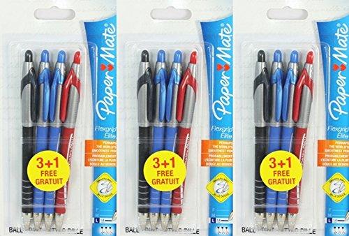 12 Stück Paper mate Flexgrip Elite Kugelschreiber, breit, schwarz, rot, blau - Mate Paper Rot