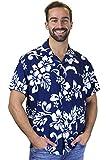 Funky Hawaiihemd, Hibiskus, blau, 3XL