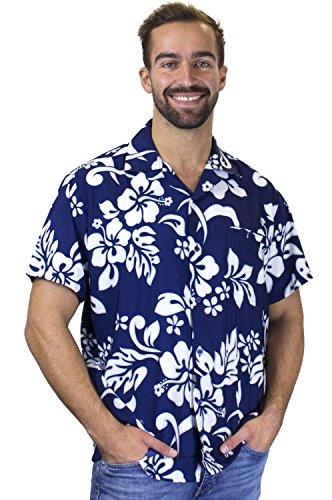 Funky Hawaiihemd, Hibiskus, blau, L