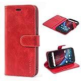 Mulbess Ledertasche im Ständer Book Case / Kartenfach für Lenovo Moto G4 / G4 Plus Tasche Hülle Leder Etui,Wine Rot