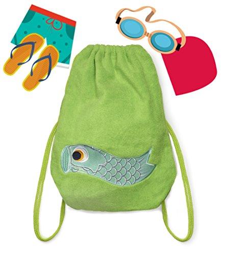 Budhi Budha Sac Natation 2 en 1 Vert: sac à dos transformable en serviette de bain enfant
