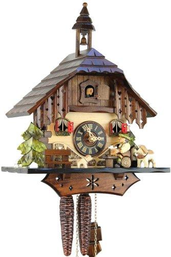 Orologio a cucù originale della foresta nera, orologio a cucù meccanico in vero legno, dispositivo di caricamento 1giorno, nuovo certificato vds eble- san bernardo 33cm-18570.